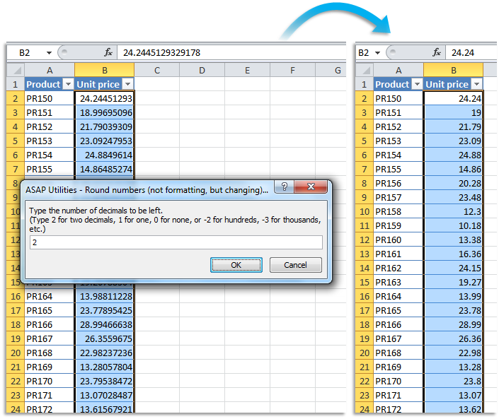 Asap Utilities For Excel Blog Tip Quickly Round The Numbers In