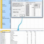 Transposes data from one column into a table