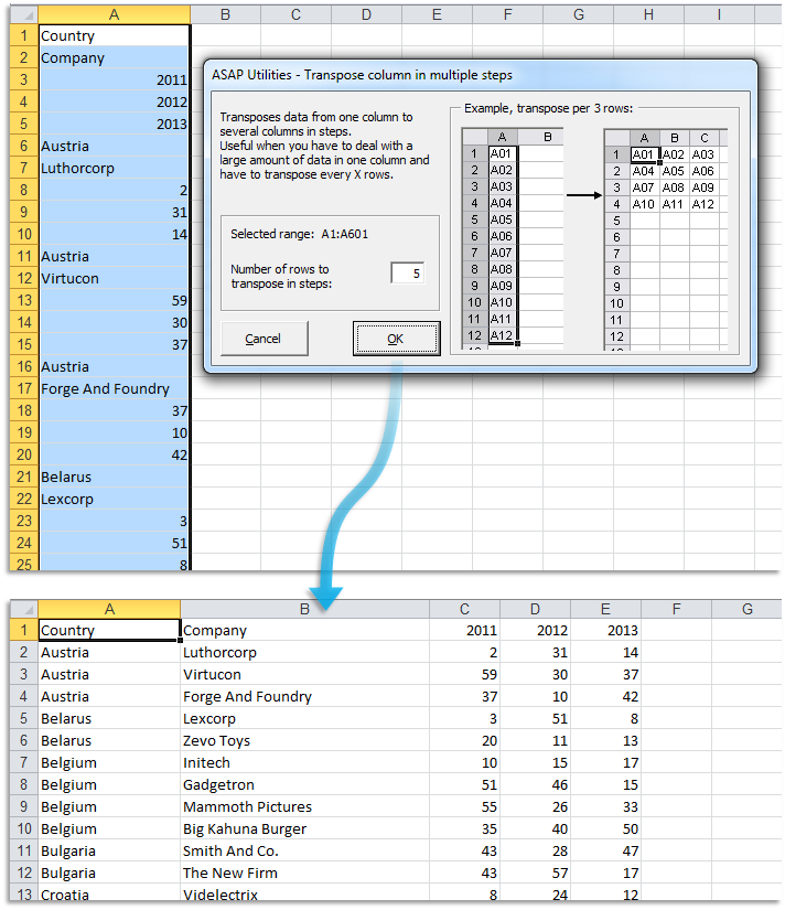 ASAP Utilities for Excel – Blog » Tip: Easily transpose 1