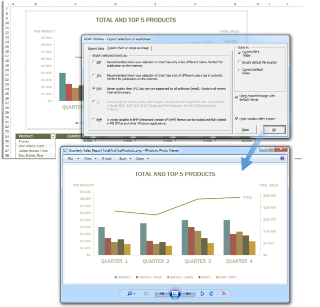 Turn Excel Data and Charts into JPG PNG GIF EMF