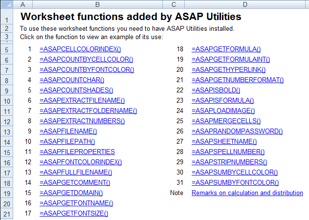Worksheet functions added by ASAP Utilities