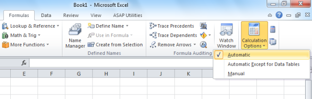 Calculation options Excel set to automatic