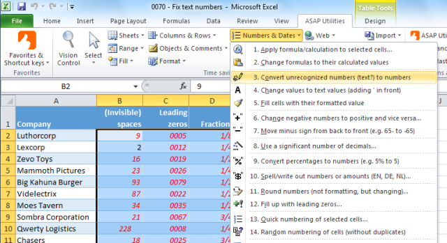 ASAP Utilities » Numbers & Dates » Convert unrecognized numbers (text?) to numbers