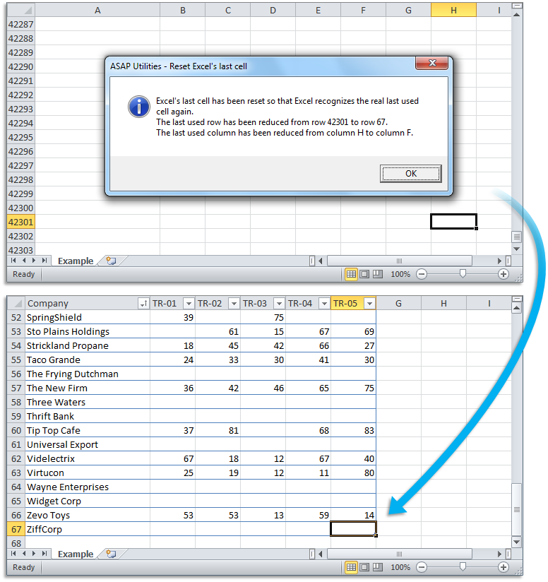 ASAP Utilities for Excel – Blog » Tip: Quickly reset the last cell ...