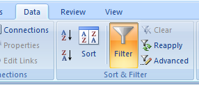 Excel 2007 ribbon: Data /> Filter