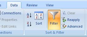 Excel 2007 ribbon: Data /> Filter