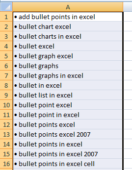 Bullet points in Excel