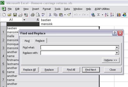 Excel's Find and Replace dialogue