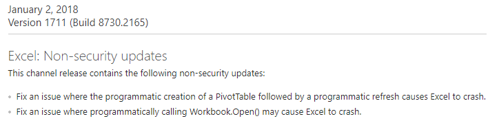Excel update, January 2, 2018, Version 1711 (Build 8730.2165)