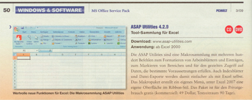 Review ASAP Utilities in the German magazine PC Welt