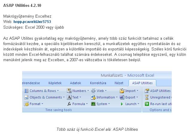 ASAP Utilities 4.2.10 - Makrógy?jtemény Excelhez