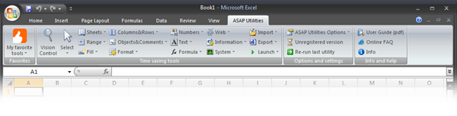 ASAP Utilities in the ribbon of Excel 2007, with black theme