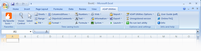 Excel 2007 with ASAP Utilities in the ribbon