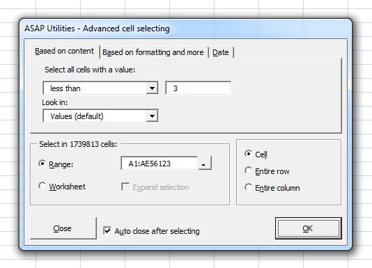 Select cells based on content, formatting and more...