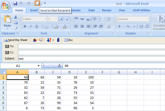 Send sheet or selection by mail in Excel 2007 and 2010