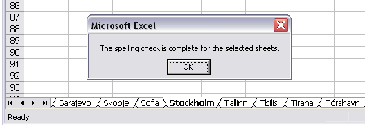 The spelling check is complete for the selected sheets