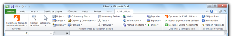 Excel 2010 with ASAP Utilities in the menu