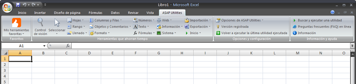 The Excel menu with ASAP Utilities