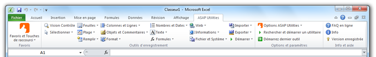 Excel 2010 avec ASAP Utilities in the menu