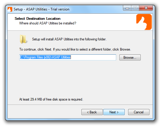 Select a folder to install ASAP Utilities