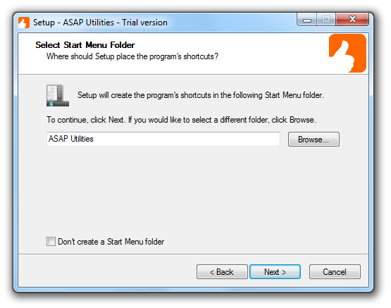 Add ASAP Utilities and a link to the PDF User Guide in the Windows Start menu