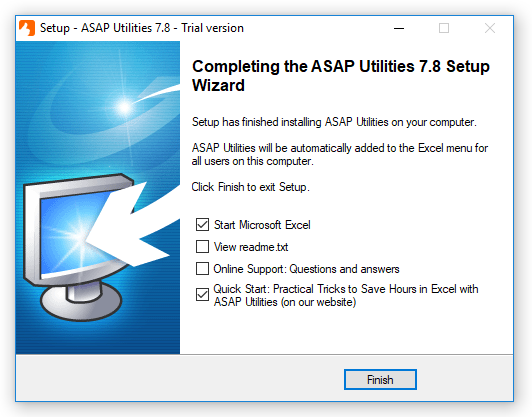 Completing the ASAP Utilities setup