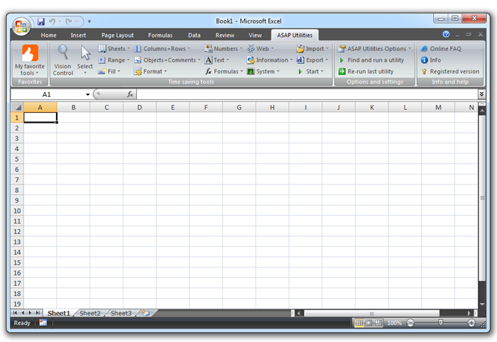 Excel 2007 or 2010 with ASAP Utilities added to the Excel menu/ribbon