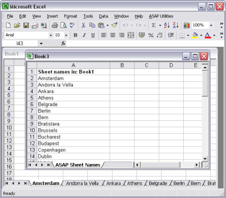 Create a list of all sheetnames in a new workbook