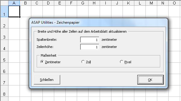 Grundriss Zeichnen In Excel : ASAP Utilities for Excel  Spalten & Zeilen » Zeichenpapier  ASAP