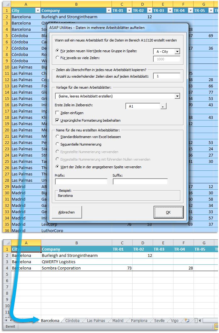 ASAP Utilities for Excel - Blätter » Markierten Bereich in mehrere ...