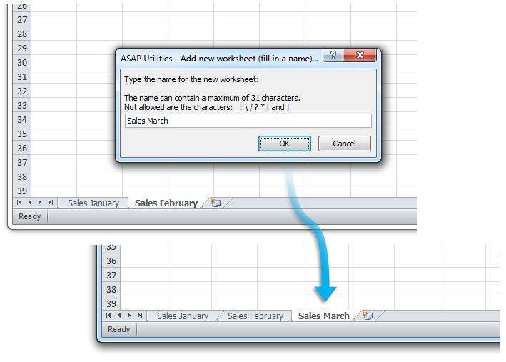 ASAP Utilities for Excel - Blätter » Neues Arbeitsblatt zufügen ...
