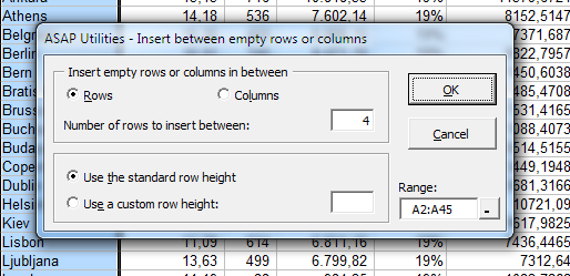 Insert empty rows or columns in between
