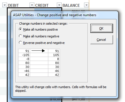 Change negative numbers to positive and vice versa