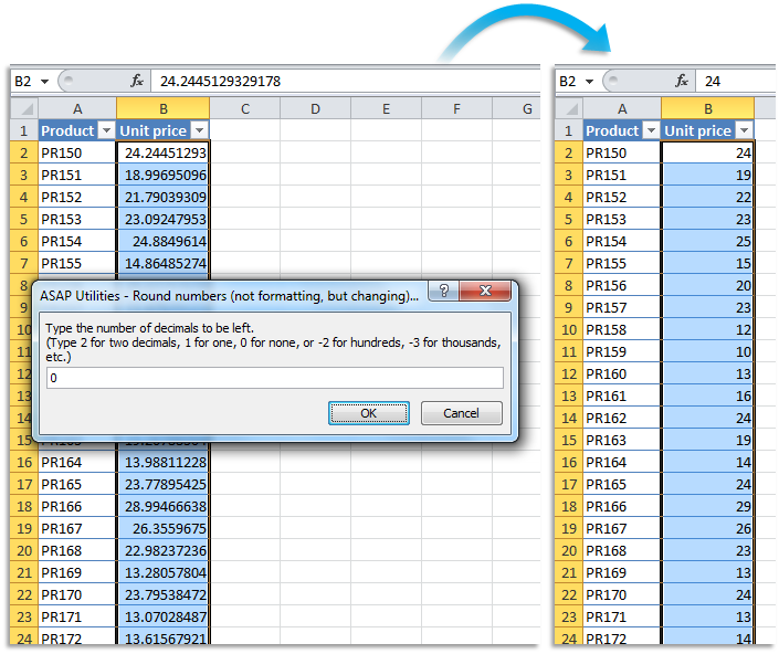 ASAP Utilities for Excel - Numbers & Dates » Round numbers (not ...