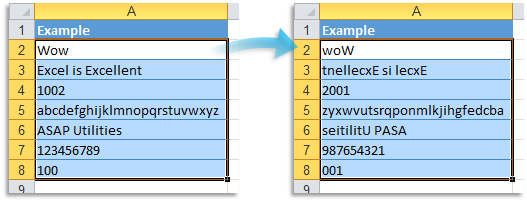 Text » Reverse text in selected cells