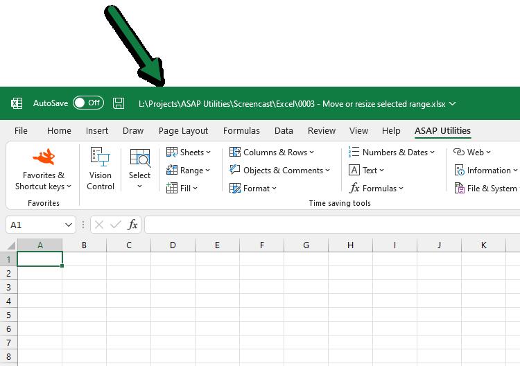 Asap Utilities For Excel Archivo Y Sistema 187 Mostrar La