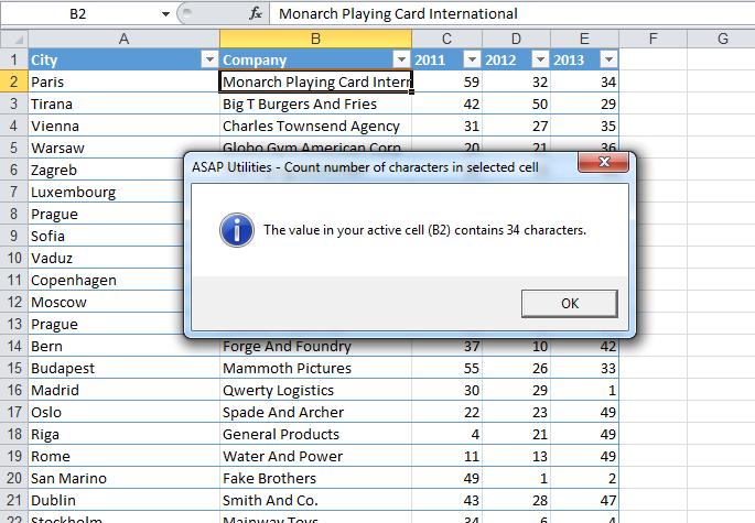 Asap Utilities For Excel Informations Compter Le Nombre De