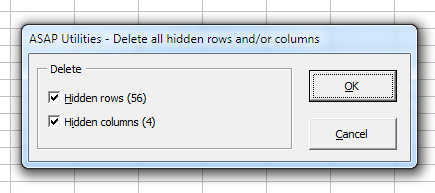 Columns & Rows » Delete all hidden rows and/or columns...