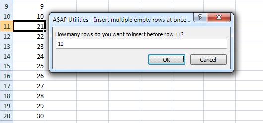 Asap Utilities For Excel Columnas Y Filas 187 Insertar