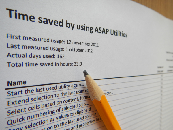 ASAP Utilities Options » Show me the time that I saved by using ASAP Utilities