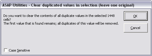 Range » Clear duplicated values in selection (leave one original)