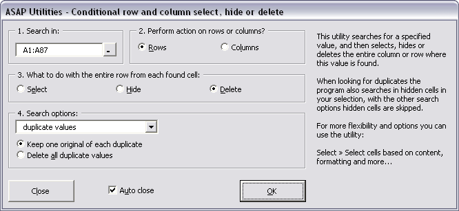 Conditional row and column select, hide or delete...