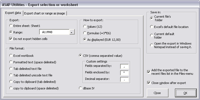 Export selection or active sheet as new file...