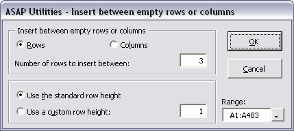 Insert between empty rows or columns...