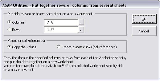 Put together rows or columns from several sheets...