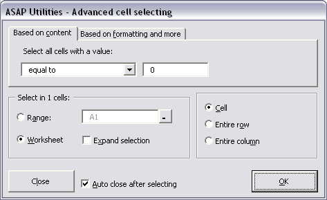 Select » Select cells based on content, formatting and more...