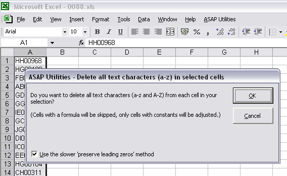 Delete all text characters (a-z) in selected cells and preserve leading zeros