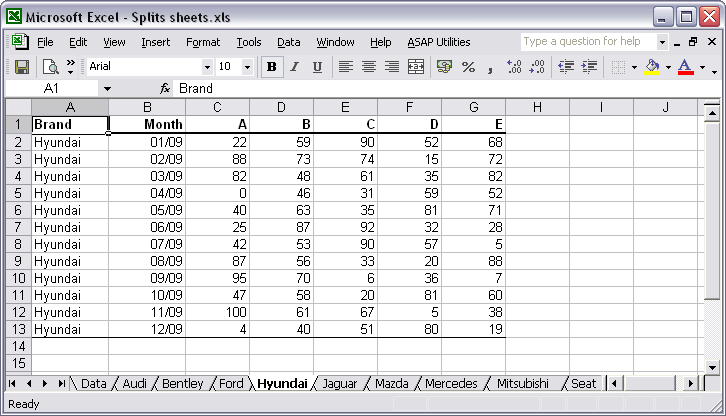 A new sheet is created for each group of data