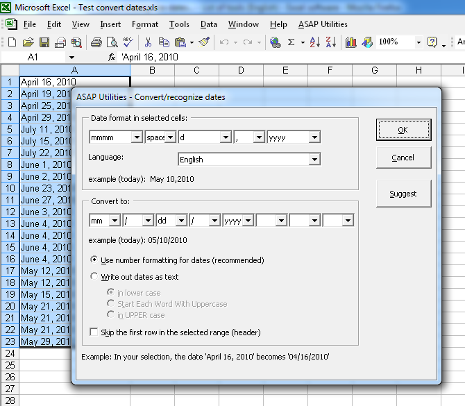Make Excel recognize dates where the months are written out
