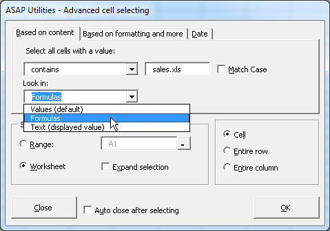 Search within formulas and select these cells
